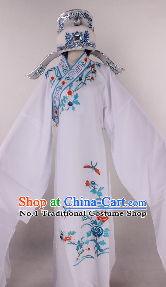 Chinese Culture Chinese Opera Costumes Chinese Cantonese Opera Beijing Opera Costumes Young Scholar Costumes and Hat Complete Set for Men