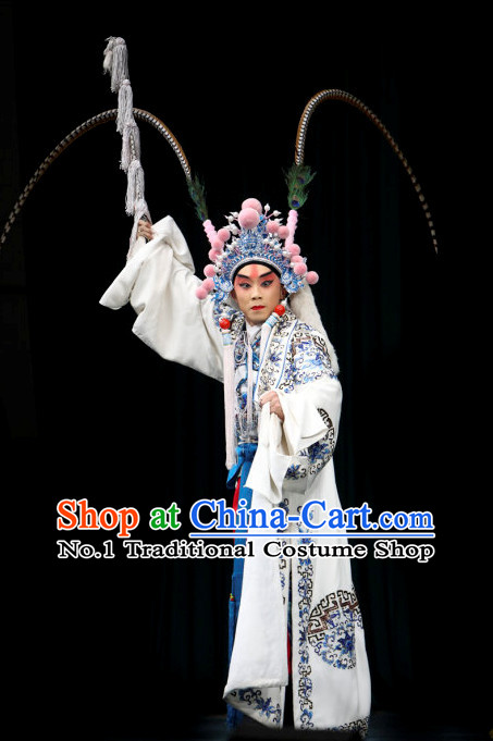 Asian Chinese Beijing Opera Peking Opera Male Costumes and Hat Complete Set
