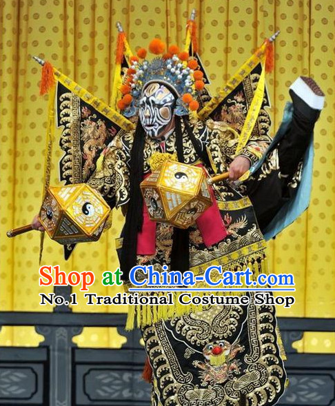 Asian Chinese Beijing Opera Peking Opera Superhero Costumes and Helmet Complete Set