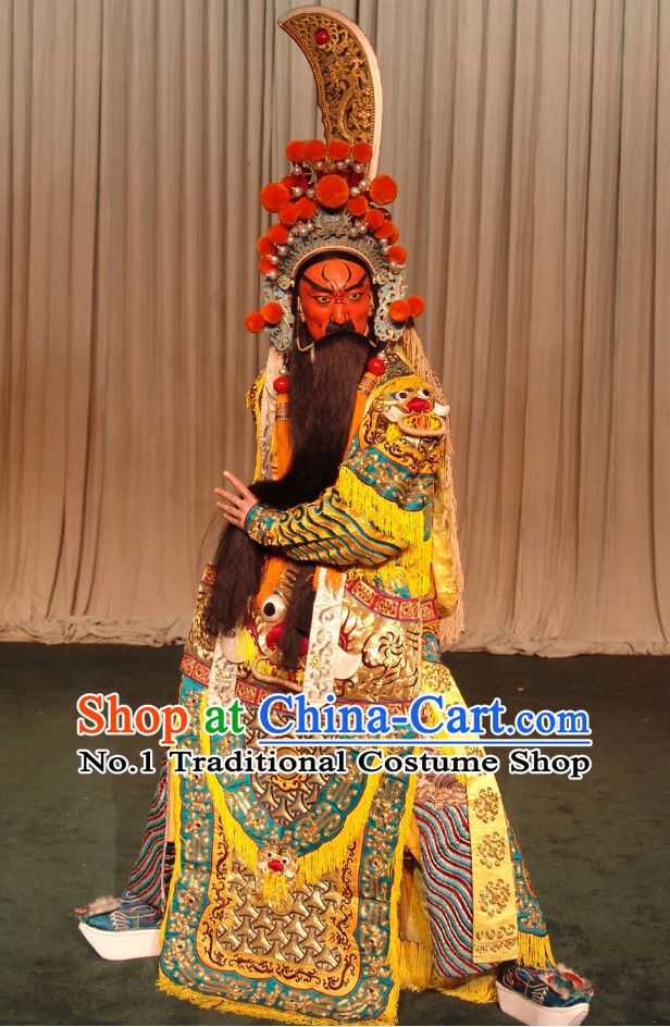 Chinese Ancient Beijing Opera Peking Opera Guann Gong Guan Yu Superhero Costumes and Hat Complete Set for Men