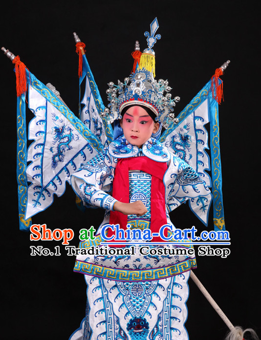 Chinese Ancient Beijing Opera Peking Opera Wu Sheng Costumes and Helmet Complete Set for Kids