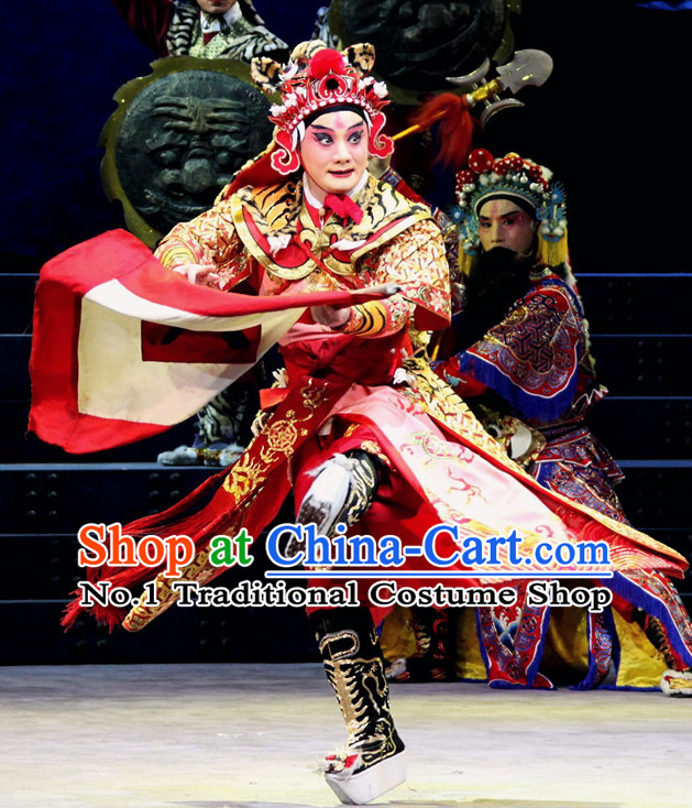 Chinese Ancient Beijing Opera Peking Opera General Warrior Costumes and Helmet Complete Set for Men