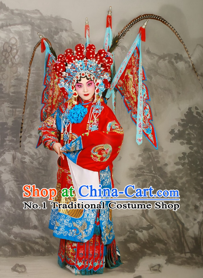 China Beijing Opera Peking Opera Empress Phonenix Costumes and Helmet Complete Set for Women