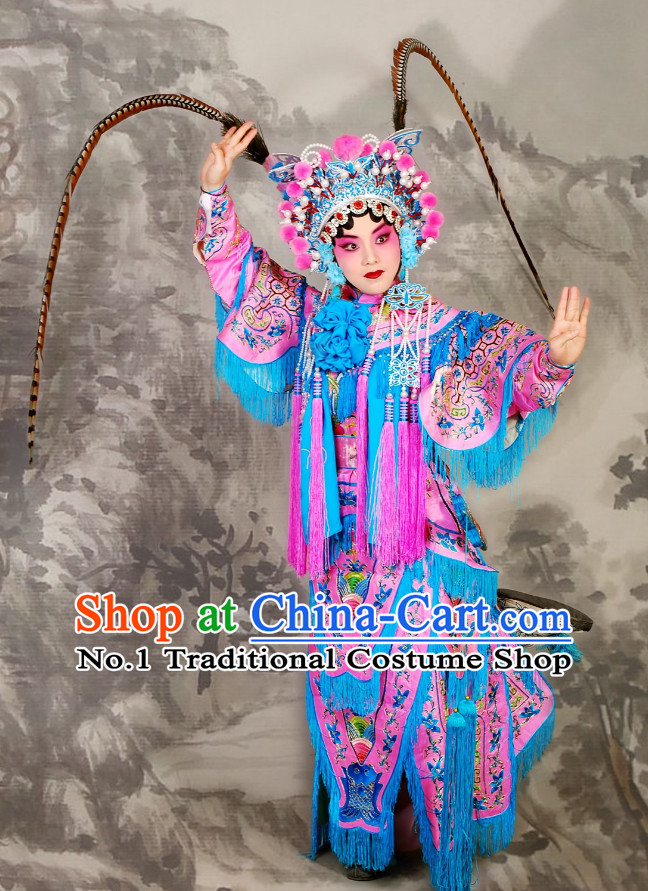 China Beijing Opera Peking Opera Empress Phonenix Costumes and Long Pheasant Tail Feathers Helmet Complete Set for Women