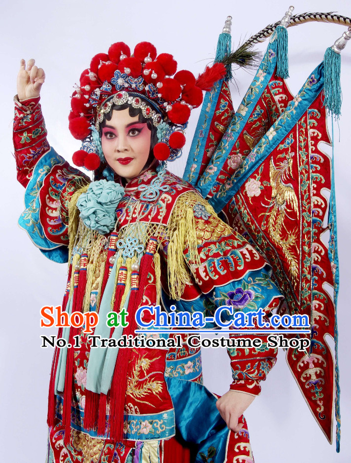 Chinese Peking Opera Beijing Opear Mu Guiying Heroine Phoenix Coronet Hair Accessories Hair Ornaments Set for Women