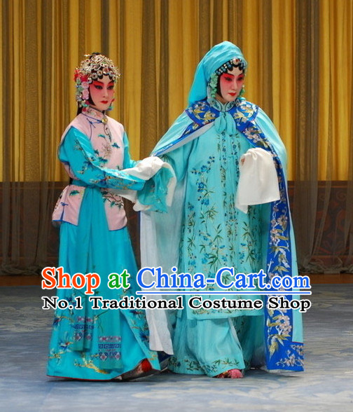 Chinese Peking Opera Beijing Opera Blue Costumes and Headwear 2 Sets