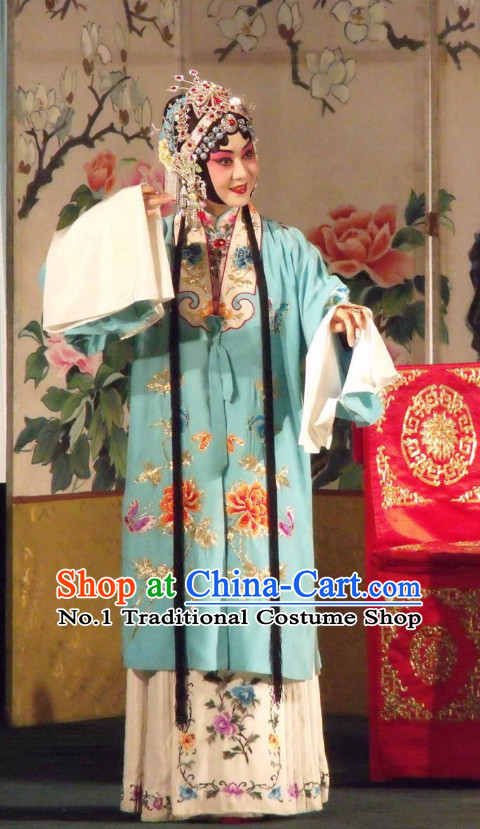 Traditional Chinese Beijing Opera Hua Dan Hua Tan Costumes and Hair Accessories Complete Set for Women