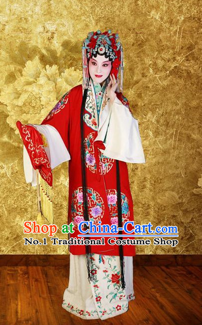 Chinese Peking Opera Beijing Opera Hua Tan Hua Dan Costumes and Hair Accessories Complete Set for Women