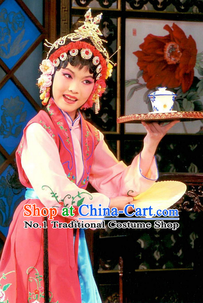 Asian Fashion China Traditional Chinese Dress Ancient Chinese Clothing Chinese Traditional Wear Chinese Opera Waitress Costumes and Hat for Kids