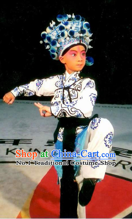 Asian Fashion China Traditional Chinese Dress Ancient Chinese Clothing Chinese Traditional Wear Chinese Opera Wu Sheng Costumes and Helemt for Kids