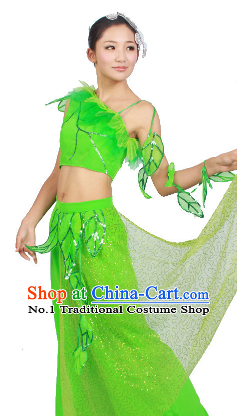 Asian Fashion China Dance Apparel Dance Stores Dance Supply Discount Chinese Green Leaf Dance Costumes for Women