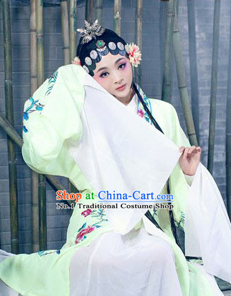 Light Green Opera Hua Dan Chinese Kimono Dresses