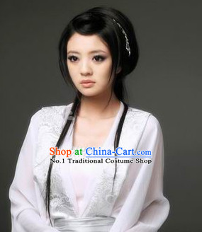 Chinese Traditional Black Long Wig for Ladies