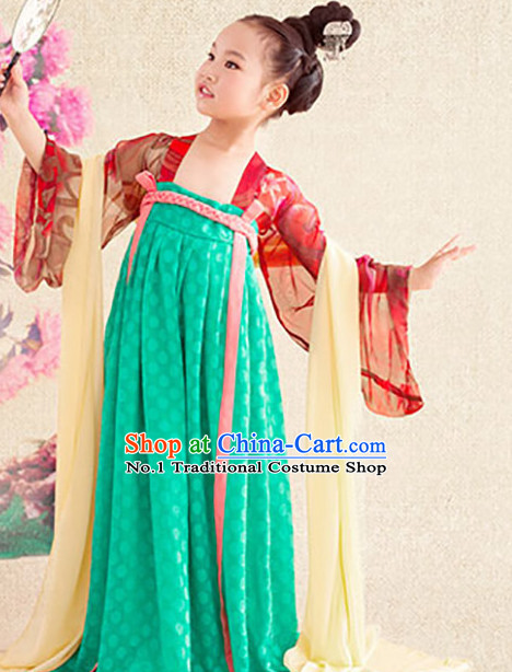 Chinese Tang Dynasty Kimono Dresses and Hair Jewelry Complete Set for Gilrs