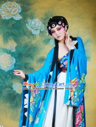 Chinese Beijing Opera Performance Costumes and Headpieces Complete Set for Women