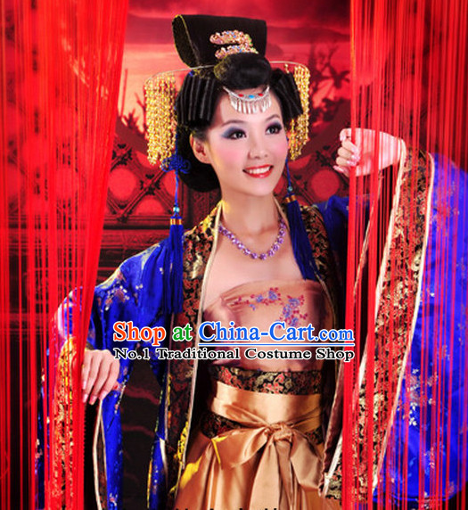 Chinese Empress Plus Size Dress and Headpieces Complete Set for Women