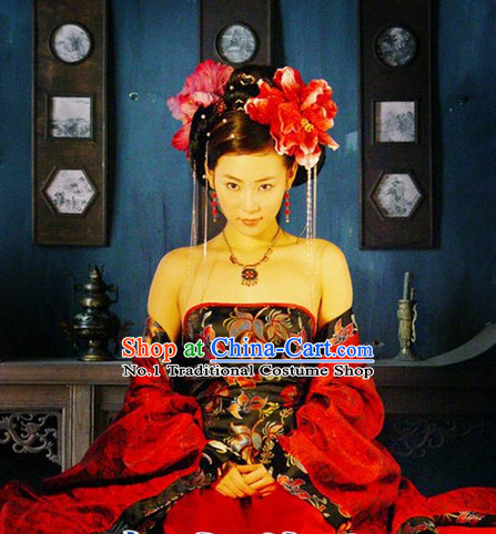 Chinese Empress Plus Size Dress and Headpiece Complete Set for Women