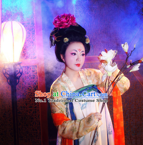 Chinese Tang Costumes and Headpieces Complete Set for Women