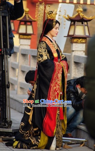 Chinese Palace Empress Kimono Dress and Headpieces Complete Set for Women