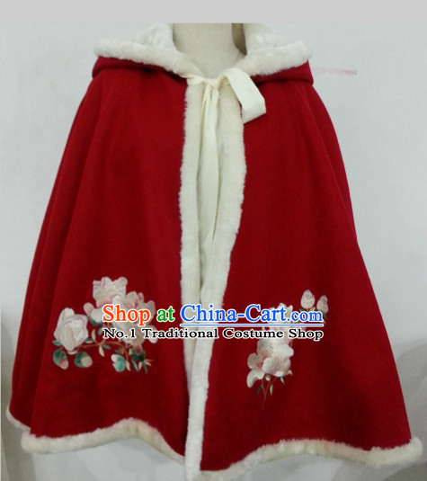 Chinese Hanfu Red Mantle for Women