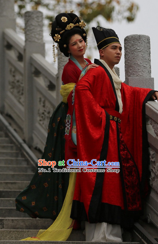Chinese Tang Wedding Dress Folk Dress and Accessories 2 Complete Sets