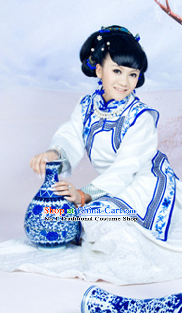 Blue and White Chinese Folk Dress and Headpieces Complete Set for Ladies