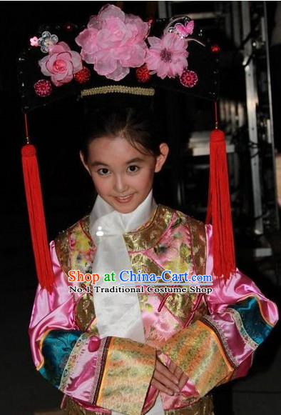 Traditional Ancient Chinese Princess Outfits and Headwear for Kids