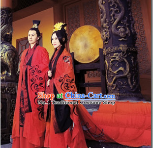 Ancient Chinese Traditional Male and Female Wedding Dresses 2 Complete Sets