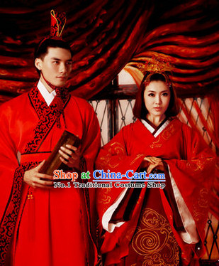 Chinese Ancient Wedding Dress and Headpieces 2 Sets