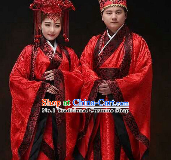 Chinese Ancient Wedding Dresses and Hats 2 Sets