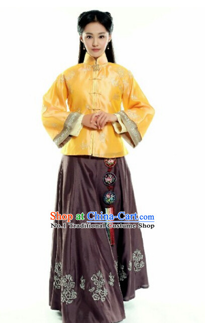 Tradiitonal Chinese Minguo Time Mandarin Dress Complete Set for Women