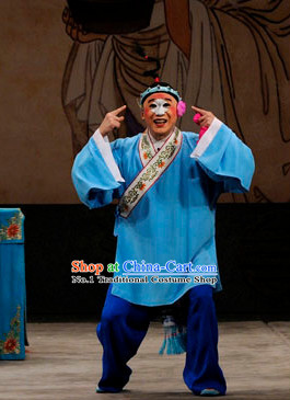 Chinese Beijing Opera Clown Costumes and Hat Complete Set for Men