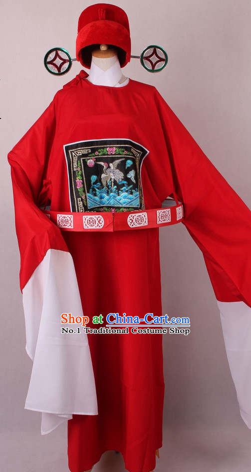 Chinese Traditional Peking Opera Clown Official Costumes and Hat Complete Set for Men