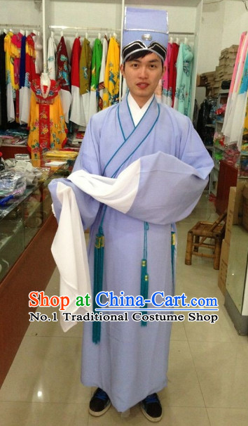 Long Sleeve Chinese Opera Student Costumes and Hat Complete Set