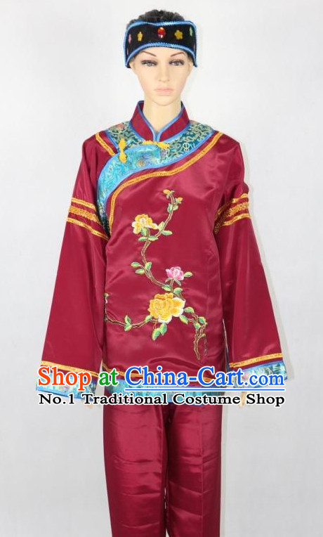 Asian Fashion Chinese Tradiitonal Dress Women Clown Costumes and Headwear