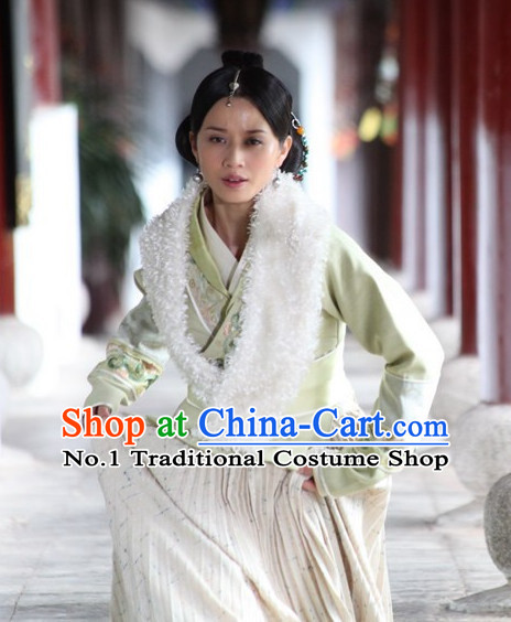Chinese Ancient Ethnic Minority Princess Costumes and Headwear Complete Set for Women