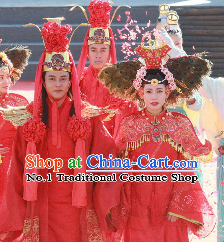 Chinese Ancient Ethnic Minority Wedding Dresses and Headwear 2 Sets