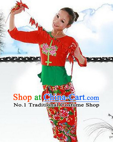 Chinese Han Ethnic Girl Handkerchief Dance Costumes Dancewear