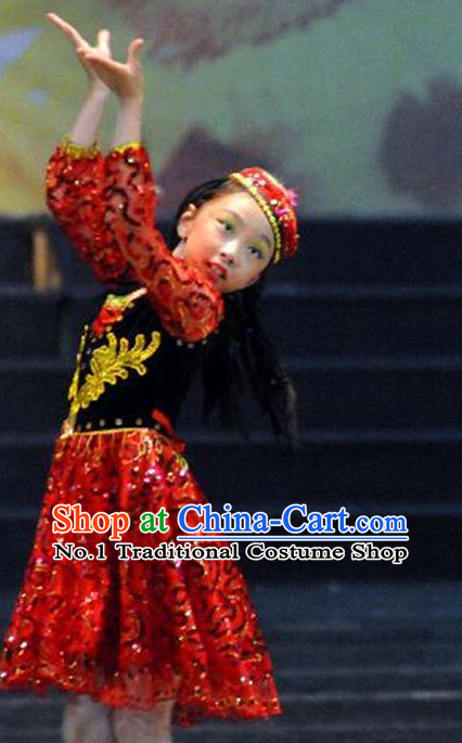 Chinese Xinjiang Minority Kids Folk Dance Costumes Dancewear