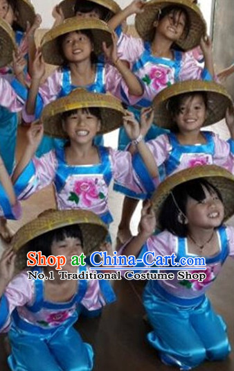Chinese Kids Farmer Costumes Dancewear