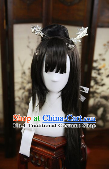 Chinese Traditional Black Long Wig and Hair Accessories