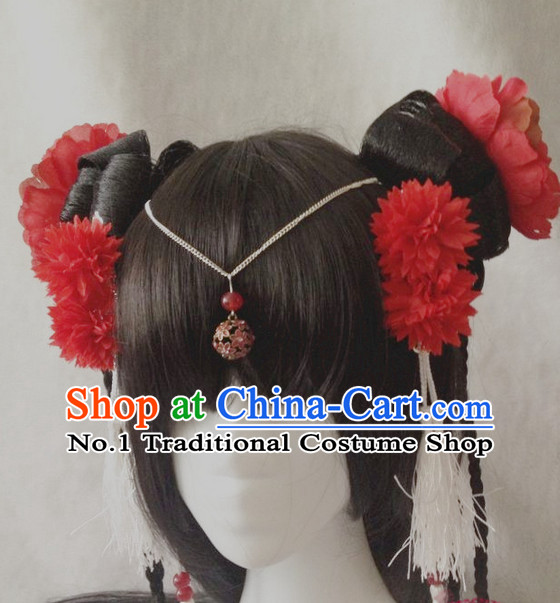 Chinese Style Dancer Long Wig and Handmade Hair Accessories