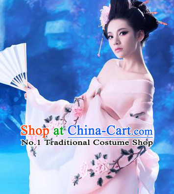 Pink Chinese Ancient Princess Costumes and Headpieces Complete Set