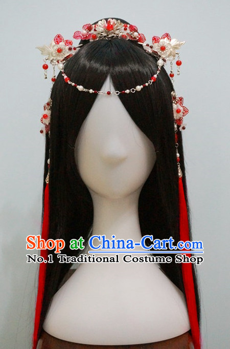 Traditional Chinese Costumes Black Wigs and Handmade Hair Accessories Hair Jewelry