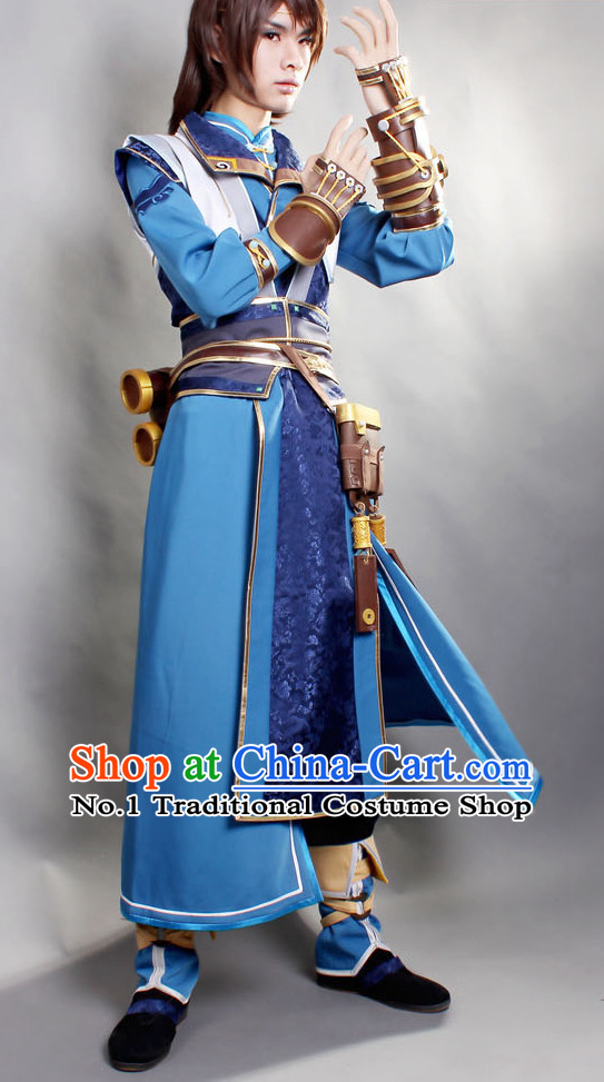 Asia Fashion Chinese Swordsman Cosplay Hanfu Costumes Complete Set