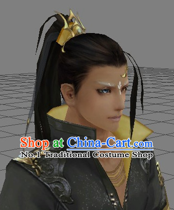 Chinese Wu Xia Drama Cosplay Long Black Wigs for Men
