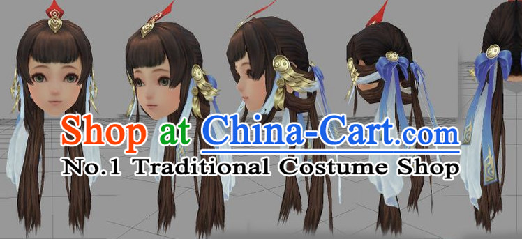 Chinese Ancient Style Long Black Wigs and Hair Accessories for Women