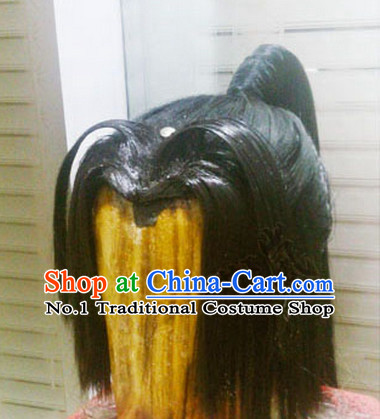 Chinese Ancient Style Swordsmen Long Black Wigs