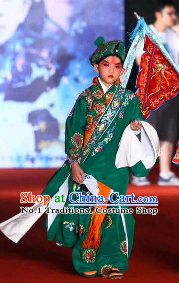 Chinese Traditional Shu Sheng Xiao Sheng Embroidered Costumes and Hat