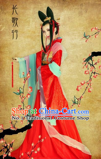 Red Chinese Classical Fairy Garments and Hair Accessories Complete Set for Women